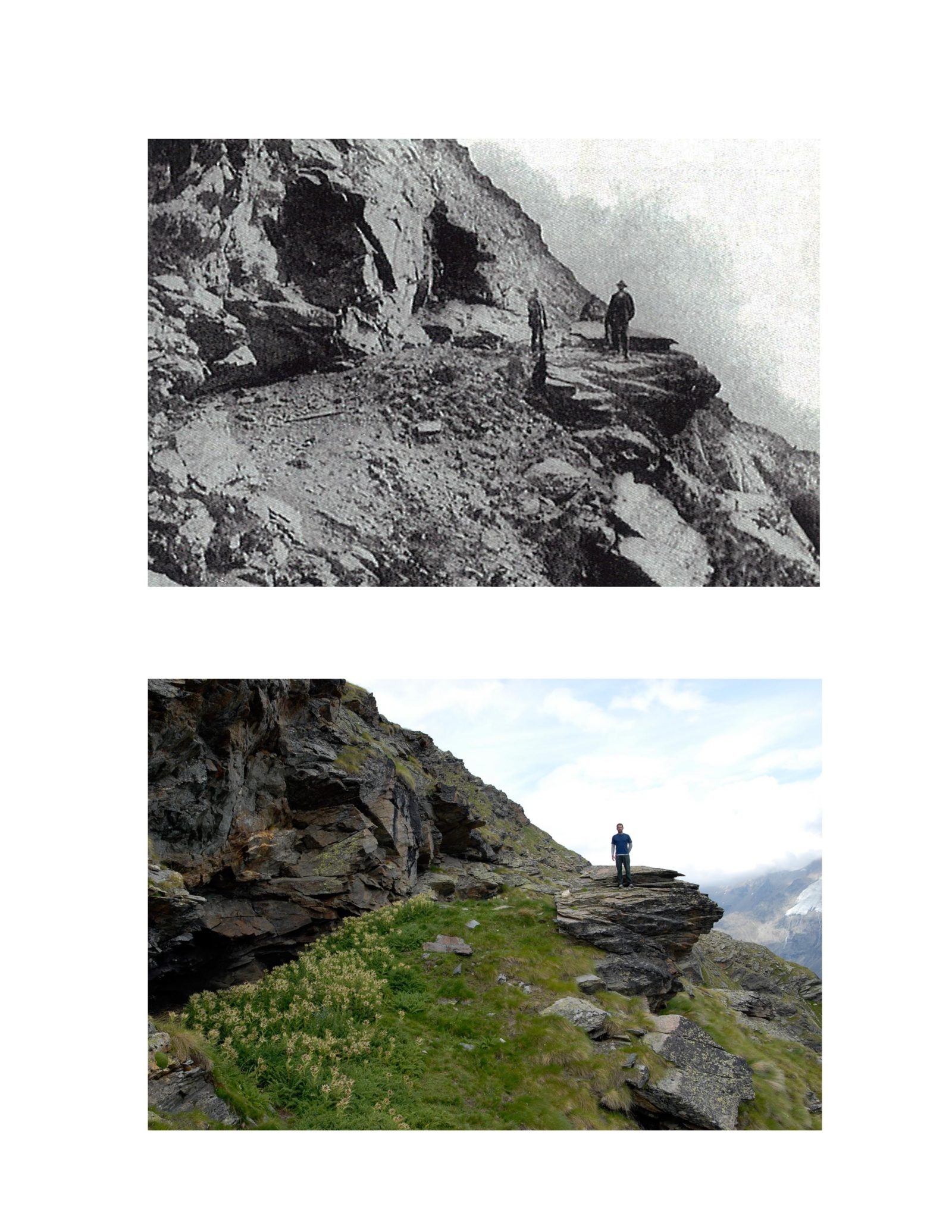 The initial bivouac used during the first ascent of the Weisshorn in 1861.  The top was a photo taken in 1867; the bottom was taken in 2011.